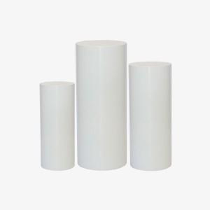 White Plinths, White cylinder Plinths, Cylinder Plinths, White Stands